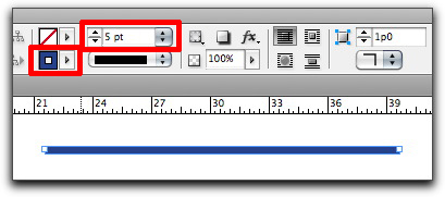 Adobe InDesign: Set your stroke color and weight in the Control panel.