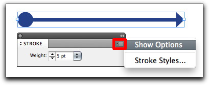Adobe InDesign: If you don't see the arrowheads, chose the Stroke panel pop-up menu and click Show Options to expand the Stroke panel.