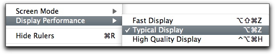 Adobe InDesign: Display Performance options in the View menu.