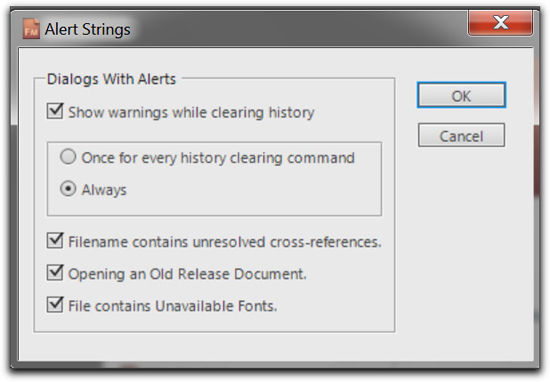 Adobe FrameMaker 10: The Alert Strings Preferences dialog box.