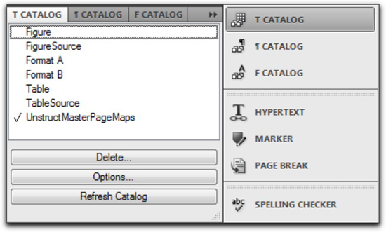 Adobe FrameMaker 10: Use Table > Format > Catalog to display the Table Catalog, and use a single click to assign a table format.