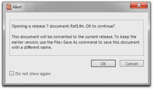 Adobe FrameMaker 10: The converting document to the current version alert box.