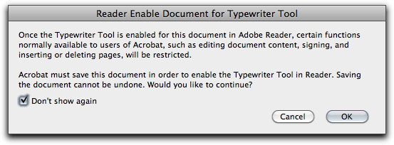 Adobe Acrobat X: Reader Enable Document for Typewriter Tool dialog box.