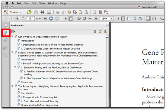 Adobe Acrobat: Show the bookmarks generated from InDesign