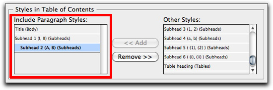 Adobe InDesign: Add the styles you wish to include to the Include List on the left.
