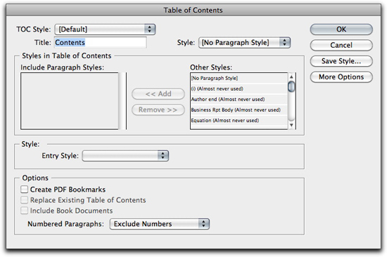 Adobe InDesign: Table of Contents dialog box.