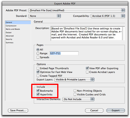 Adobe InDesign: Be sure to include bookmarks when exporting to a PDF.