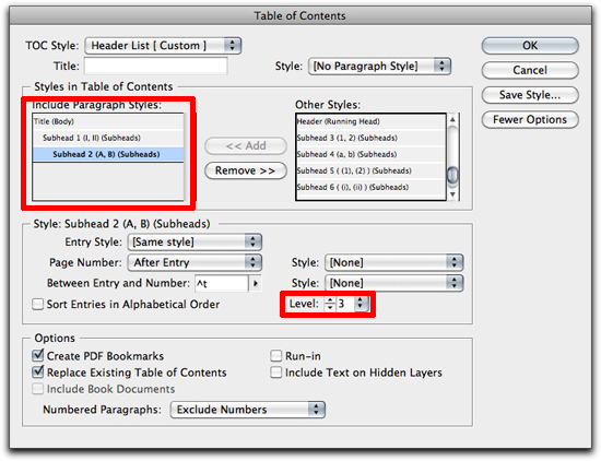 Adobe InDesign: Use indents to nest the bookmarks.