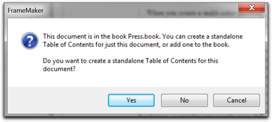 Adobe FrameMaker: Create a Standalone Table of Contents