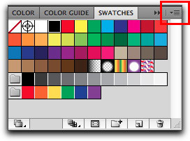 Adobe Illustrator CS5: Swatches panel menu | Large  Swatches