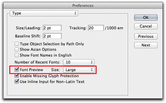 Adobe Illustrator CS5: Preferences | Type