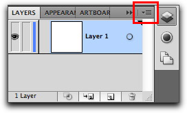 Adobe Illustrator CS5: Layers panel menu | Panel Options | Row Size