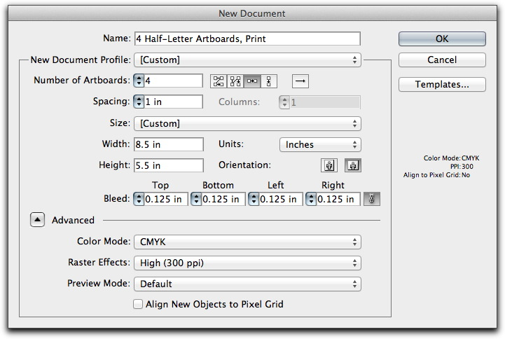 Adobe Illustrator CS5: New Document dialog box