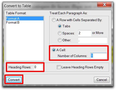 Adobe FrameMaker: Convert Text to Table