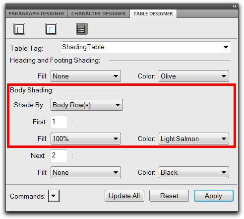 Adobe FrameMaker: Add shading via Table Designer