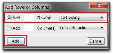 Adobe FrameMaker: Add Rows or Columns to add a footing row.