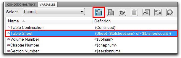 Adobe FrameMaker: Using the Table Sheet variable
