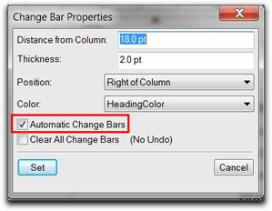 Adobe FrameMaker: Format | Document | Change Bars