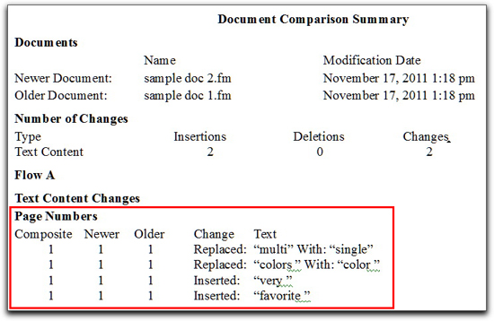 Adobe FrameMaker: Document Comparison Summary