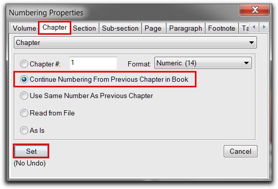 Adobe FrameMaker: Numbering Properties | Chapter