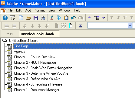 Adobe FrameMaker: Chapter Numbering in the Book Window