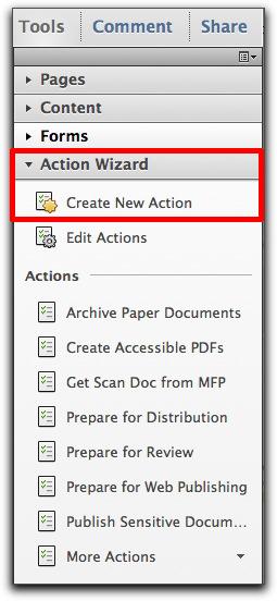 Adobe Acrobat X: The new Actions panel