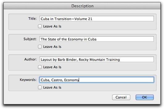Adobe Acrobat X: Adding Document Description fileds to multiple documents