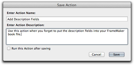 Adobe Acrobat X: Saving a new Action with a name and description