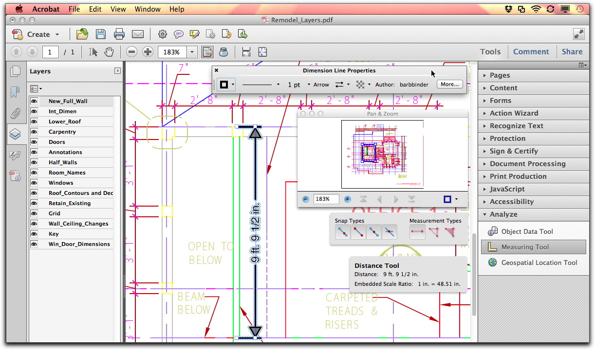 Adobe Acrobat X: The Engineering tools include Layers, Measurement, Pan & Zoom.