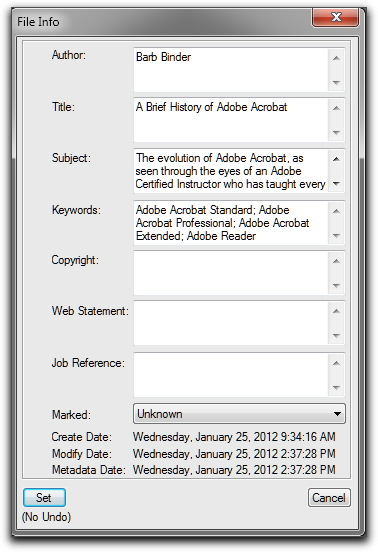 Adobe FrameMaker: Use File | File Info to enter your description fields