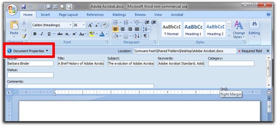 Microsoft Word: Use File | Properties (Mac) or File | Prepare | Properties (Win) and fill out the description fields