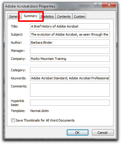 Microsoft Word: Click Document Properties on Windows to see the Summary dialog box