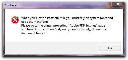 Adobe FrameMaker: Rely on System Fonts Only, Do Not Use Document Fonts