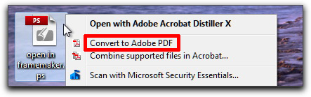 Adobe Acrobat: Convert the .ps to .pdf using Distiller