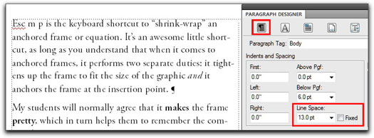 Adobe FrameMaker: A body paragraph set 10/13, with Fixed Spacing turned off.