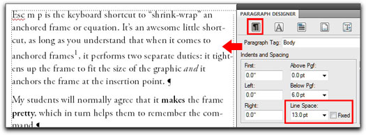 Adobe FrameMaker: A body paragraph set 10/13, with Fixed Spacing turned off and a footnote added to line 4.
