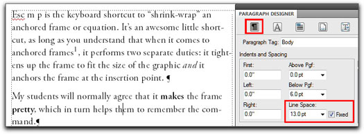 Adobe FrameMaker: A body paragraph set 10/13, with Fixed Spacing turned on and a footnote on line 4.