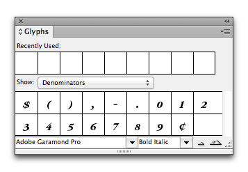 Adobe InDesign: Glyphs panel shows denominators