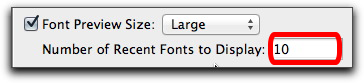 Adobe InDesign CS6: Recently Used Fonts