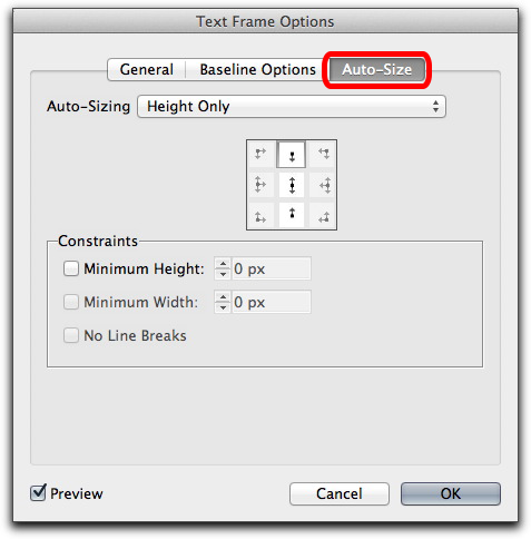 Adobe InDesign CS6: Persistent text frame fitting options