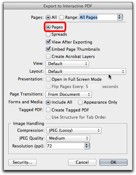 Adobe InDesign CS6: Interactive PDF export as pages