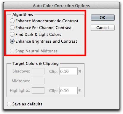 Adobe Photoshop CS6: The image correction algorithms for automatic level and curve corrections