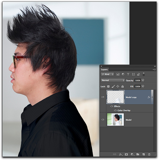 Adobe Photoshop CS6: The finished result...the white shirt is now black