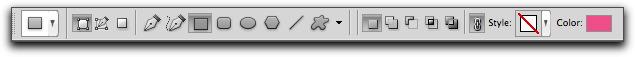 Adobe Photoshop CS5: The vector tool options bar