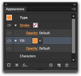 Adobe Illustrator CS6: Change the Fill color by making a selection from the Fill menu in the Appearance panel.