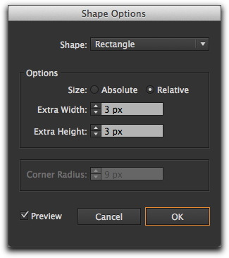 Adobe Illustrator CS6: Effects | Convert to Shape | Rectangle