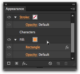 Adobe Illustrator CS6: Order matters in the Appearance panel. Drag the Fill row under the Characters row!