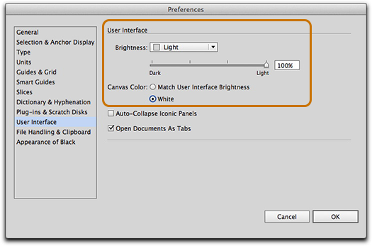 Adobe Illustrator CS6: Control the brightness of the user interface