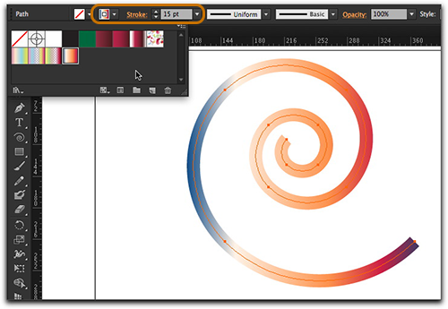 Adobe Illustrator CS6: Simply apply a gradient to a stroke via the Stroke menu!
