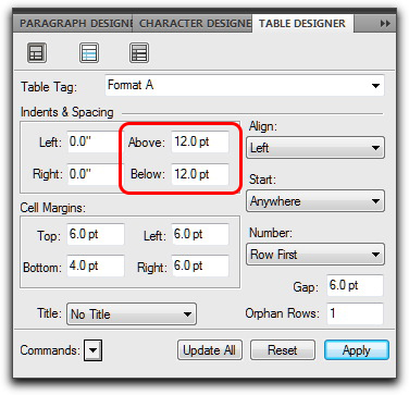 Adobe FrameMaker: Control spacing around tables vis the Table Designer